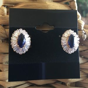 Jewelry - Lab created marquis sapphire baguette cz earrings